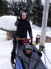 Me pretending to drive the sled (lmundy2002) Tags: dogs dogsled dogsledding huskies sleds whitefish olney whitefishmt olneymt montana mt winter wintersports