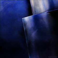 Detail of Modern Art Sculpure in Blue Light (newmexico51) Tags: abstract steel blue purple metal sculpture detail unm universityofnewmexico gregorypeterson lenstest pentaxsmc35mmf35
