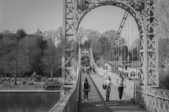 Queens park suspension bridge (joshdgeorge7) Tags: voigtlander suspension bridge cheshire vintage chester vanishing