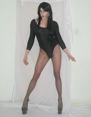Posedown (queen.catch) Tags: dragqueen crossdresser catchqueenyoutube heels pleasers eterno cecilia de rafael leotard long sleeve shemale tranny ladyboy femmeboy femboi glam