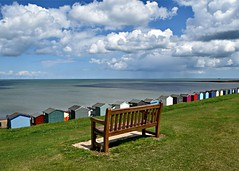 Out To Sea (..Jim) Tags: whitstable sea beachhuts seat clouds sunshine view
