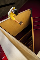Triangular Freefall (Victor Lasheras Photography) Tags: stair staircase triangular red yellow freefall caixa forum floor canon 1300d