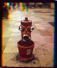 hydrant trichrome (pho-Tony) Tags: nimslo palma trichrome sergey prokudingorsky sergeyprokudingorsky trichromie three color colour separation combination filter lee filters red green blue rgb archaic old technicolor technicolour ishootfilm filmisnotdead pse8 postprocessing trichromy threecolor threecolour colorize colourise rodinal expired fuji neopan 400 iso400 stereo 3d lenticular 4 lens quad film 35mm 135 analogue