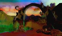 Wonderland / Artist : Haveit Neox (Bamboo Barnes - Artist.Com) Tags: haveitneox secondlife art installation surreal exhibition accalpha gate hands female women hat landscape texture tree virtualart digitalart light shadow photo painting contrast vivid red green yellow blue black bamboobarnes purple