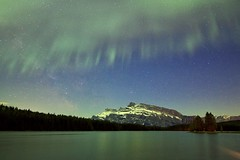 Milky Way shot Of Mount Rundle Banff (John Andersen (JPAndersen images)) Tags: aurora banff corona curtains may28 milkyway mountrundle twojacklake