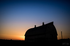 The Barn (Photography M.D.) Tags: scottsmills barn sunset bluehour sun yellow orange blue power pole
