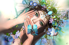 The silent butterfly (meriluu17) Tags: slackgirl sg boudoir fairy fae butterbly silent quiet fantasy blue pastel closeup people