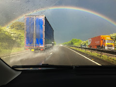 Rainbow on the A42 (Ring a Ding Ding) Tags: 2017 england arc driving motorway nature rain rainbow storm weather
