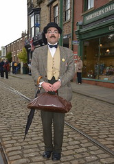 Period costume at Beamish Museum (Snapshooter46) Tags: man bowlerhat leatherbag bowtie umbrella posing edwardian periodcostume beamishmuseum countrydurham