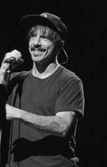 Kiedis Smile (peterkelly) Tags: bw digital panasonic lumix zs50 parcjeandrapeau osheaga osheagamusicartsfestival 2016 montreal festival quebec canada northamerica music concert redhotchilipeppers anthonykiedis hat mic mike microphone smiling smile moustache singer sin tattoos tattoo arm