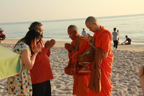 Alms in the beach Hua Hin, Thailand