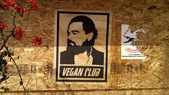 Vegan Club _HDR (mercycube) Tags: sign veganclub silverlake leonardodicaprio graffiti plywood underconstruction flowers blossoms red hipster vegan peta poster losangeles wheatpasting fightclub