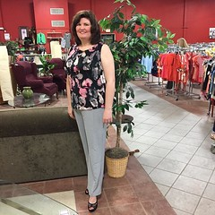 Beautiful designer outfit!! Talbots high heel sandals, size 8b, KARM price $24.99, Ivanka Trump sleeveless top, size large, original price $49, KARM price $12.99 and Chico light gray slacks, size 12, KARM price $12.99! #karmstores #thrifting #farragut #ev