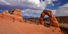 Delicate Arch|Arches National Park, Utah (miltonsun) Tags: delicatearch archesnationalpark utah archrocks landscape mountains clouds sky rollinghills canyon