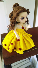 Coquille / Shell (Leegloo) Tags: pukifee pkf fairyland fl bjd tiny 16 18 pukifée doll ball jointed dolls wig lee leegloo beauty beast belle et la bete disney yellow dress laine crochet le petit froufrou crocheted wool