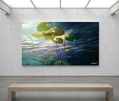 Acryl WasserWeltWeit 130x90cm Dirk NeeRidsch (Dirk_NeeRidsch) Tags: acryl acrylpainting art fineart painting painter neeridsch malen farben wasser seerosen unterwasser blau grün reflexe leinwand