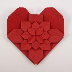 Hydrangea Heart (Michał Kosmulski) Tags: origami heart love valentinesday hydrangea fractal flower michałkosmulski shuzofujimoto tantpaper red