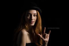 ILY (Dana Brady -Thank you for 1 million views) Tags: portrait hat lowkeylighting ily asl signlanguage redhead beauty bowlerhat