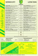 Norwich City vs Luton Town - 1991 - Back Cover Page (The Sky Strikers) Tags: norwich city luton town barclays league division one carrow road official matchday programme pound twenty
