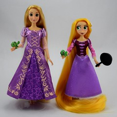 Classic Rapunzel Doll (2016) vs Rapunzel Adventure Doll (2017) - Deboxed - Standing Side by Side - Full Front View (drj1828) Tags: us disneystore rapunzel tangled comparison 12inch 10inch posable doll deboxed