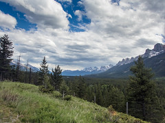 Bow Valley View (djking) Tags: canmore mountrundle trees june2017 alberta bowvalley mountains canada legacytrail goatcreekride banff clouds