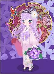 259321_201705302102 (Nicotto Yume) Tags: ニコッとタウン カチューシャ 花 紫 和 ポップ かわいい ロングヘア