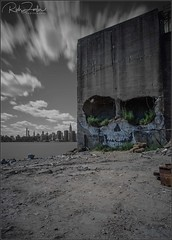**OUR FATE IS UNCERTAIN** (Rich Zoeller Photography) Tags: richzoeller rich zoeller thatkidrich tkr uncertain future urban wasteland skull death ny nyc newyorkcity graffiti art structure esb empirestatebuilding longexposure river abandoned canon photography explore forgotten manhattan buildings