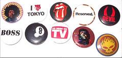 Badges (rylojr1977) Tags: badges jimihendrix cheguevera 8ball asseenontv rollingstones reserved devil ilovetokyo pop culture abstract