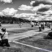 Black & White of Some 2017 American Heroes Airshow Crowd Watching A109 Departure