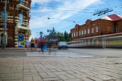 Urban dynamics (anton_frolov) Tags: urban city street dynamic people ghosts tracks cars building road tiles sky russia tomsk sony a6000 filter autofocus