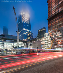 Hudson Yards (20170617-DSC04235-Edit) (Michael.Lee.Pics.NYC) Tags: newyork hudsonyards construction farwestside 11thavenue vessel 10hudsonyards theshed 15hudsonyards niemanmarcus night twilight bluehour lighttrails traffictrails fog architecture cityscape sony a7rm2 voigtlanderheliar15mmf45
