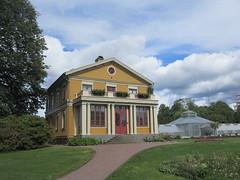 Gold house with enclosed porch, Trädgårdsföreningen, Gothenburg, Sweden (Paul McClure DC) Tags: gothenburg sweden sverige july2015 göteborg historic architecture