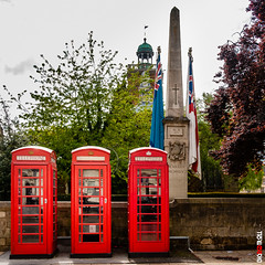 Essence of Britain (BigRedTroll) Tags: tree british architecture business communication england flag memorial northampton obelisk red sky street structuralelement structure telephone telephonebox tradition urban wall
