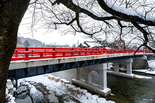 Red bridge in Takayama