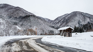 snowy road at Shirakawago in japan