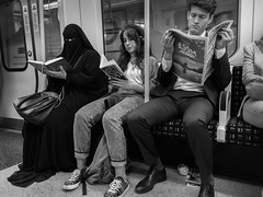 London Reading - Circle Line (pascal.sallin) Tags: street passion award london subway reading newspaper book circle line muslim koran streetphotography