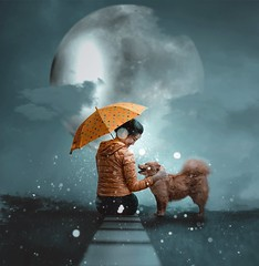 320/365 Winter in the Evening (Katrina Y) Tags: selfportrait dog umbrella winter snow moon surreal surrealphotography smile conceptual creative concept clouds artsy art artistic arsty manipulation photoshop 2017 365project