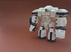 Imprisoned (Tilde Brick) Tags: lego moc mecha white tan gun grey scifi science fiction beginning new robot toys