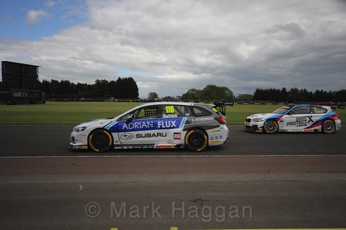 Ash Sutton and Rob Collard in BTCC action at Croft, June 2017