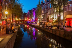 Amsterdam Red Light District (Johannes R.) Tags: amsterdam red light redlight district quarter netherlands dutch holland river sewer reflection night blue hour color colour colorful colourful lights sign lamp people prostitute longexposure canon 70d water