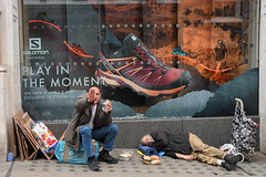 Play in the Moment - Homeless, London (sophie_merlo) Tags: london candid street streetphotography sign homeless poverty uk england irony