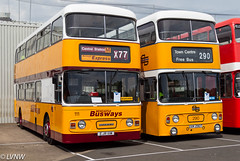 Preserved ex-Busways 111 and TWPTE290, Leyland Atlanteans EJR111W & UVK290T (LVNWtransFoto) Tags: canoneos1dmkiv carlisle willowholme stagecoach openday bus coach vehicle transport busways tynewearpte 111 290 ejr111w uvk290t leyland atlantean alexander