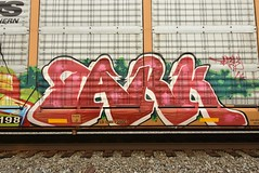 TARK (TheGraffitiHunters) Tags: graffiti graff spray paint street art colorful freight train tracks benching benched racks autoracks tark ribbet