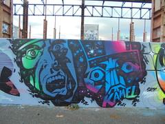 sky masters (en-ri) Tags: kamel uomini men torino wall muro graffiti writing nero blu fuxia parco dora cielo sky visi volti facce faces
