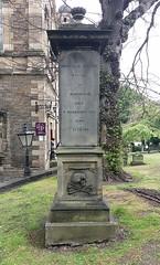Archibald Megget Memorial (Time Grabber) Tags: timegrabber edinburgh scotland streetscene street princesstreet mobilephone saintcuthbert church cemetry gravestones crossbones skull archibaldmegget