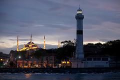 Ahirkapi lighthouse and Blue Mosque (Mikhail Serbin) Tags: lighthouse mosque sunset sea marmara seaside istanbul faro маяк стамбул мечеть turkey