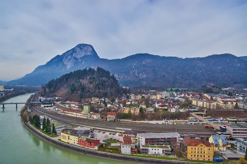 View of Kufstein with river Inn and Pendling mountain from the fortress in Tyrol, Austria