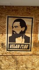 Vegan Club graffiti _HDR (mercycube) Tags: sign veganclub leonardodicaprio beard graffiti fightclub wheatpasting poster wood plywood boardedup peta