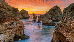 Sunrise at Ponta da Piedada (Explored) (Frans van der Boom) Tags: fvdb nikon netherlands holland d800e decisive moment creative flickr flickriver explore best camera lens eyed eye scene photography fvdbphoto portugal algarve sunrise cliffs landscape seascape pontadapiedada lagos goldenhour longexposure
