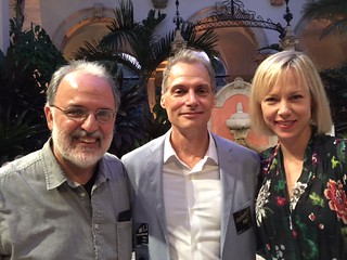 Artist Gustavo Matamoros, Vizcaya museum director Joel Hoffman and artist Amanda Keeley at the Contemporary Arts Program event at Vizcaya